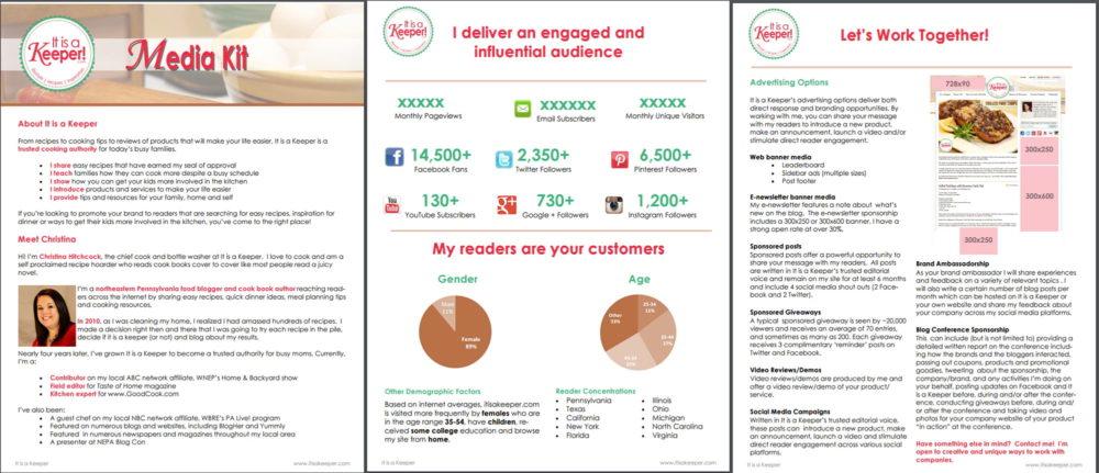 медиа-кит для размещение рекламы в аккаунте инстаграм-блогера