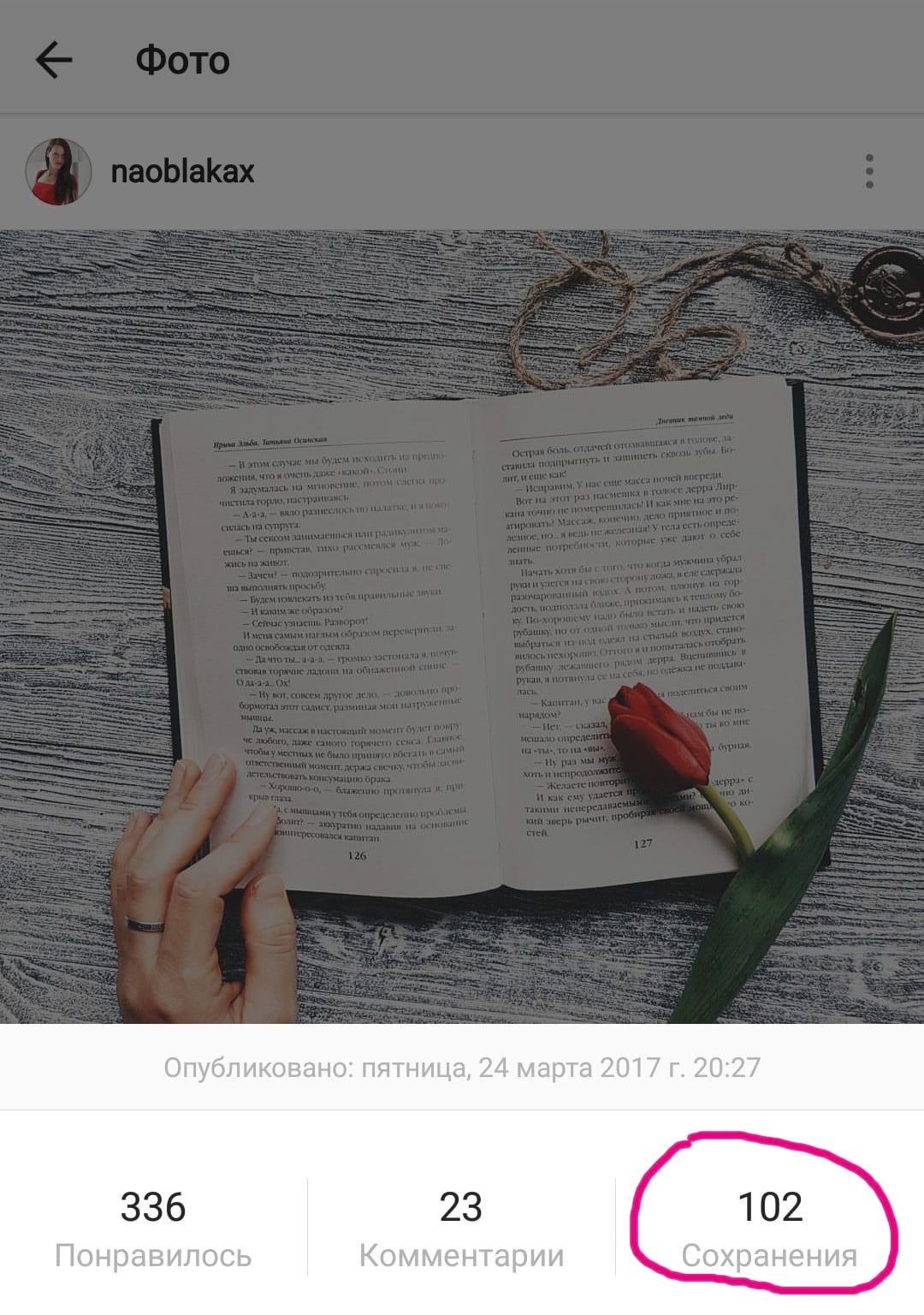 количество сохранений в Инстаграм